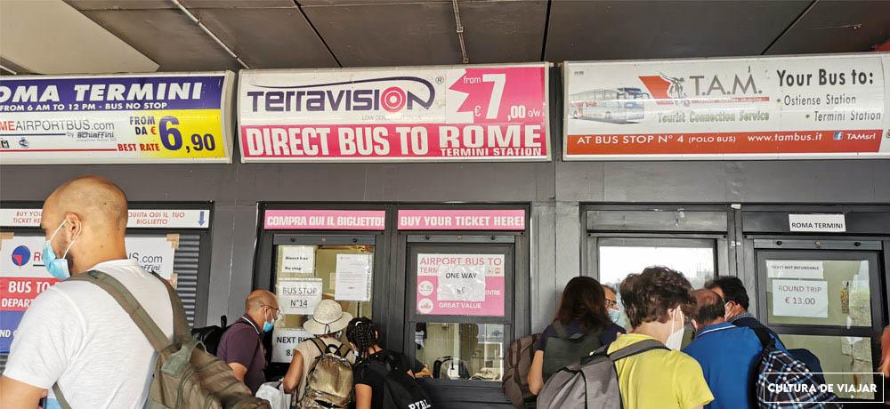Taquillas de autobuses en Fiumicino